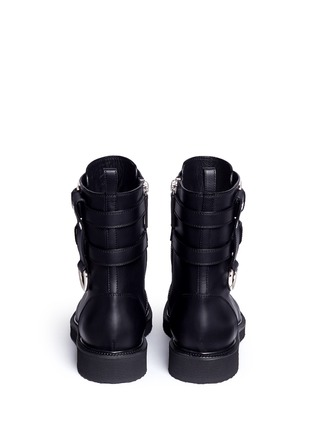 Back View - Click To Enlarge - Giuseppe Zanotti Design - 'Hilary' buckle leather combat boots