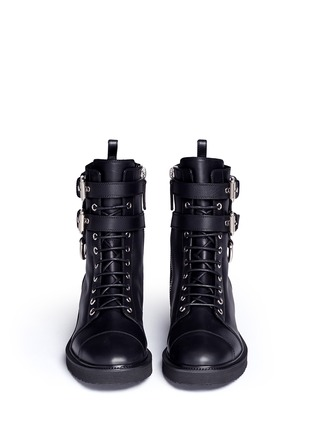 Front View - Click To Enlarge - Giuseppe Zanotti Design - 'Hilary' buckle leather combat boots