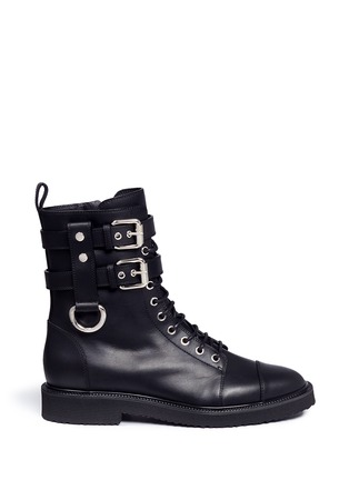 Main View - Click To Enlarge - Giuseppe Zanotti Design - 'Hilary' buckle leather combat boots
