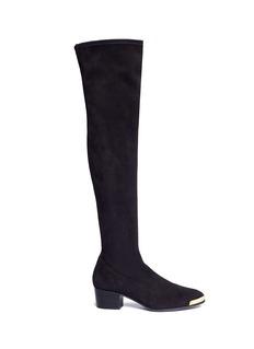 Giuseppe Zanotti Design'Nicky' metal trim suede thigh high boots