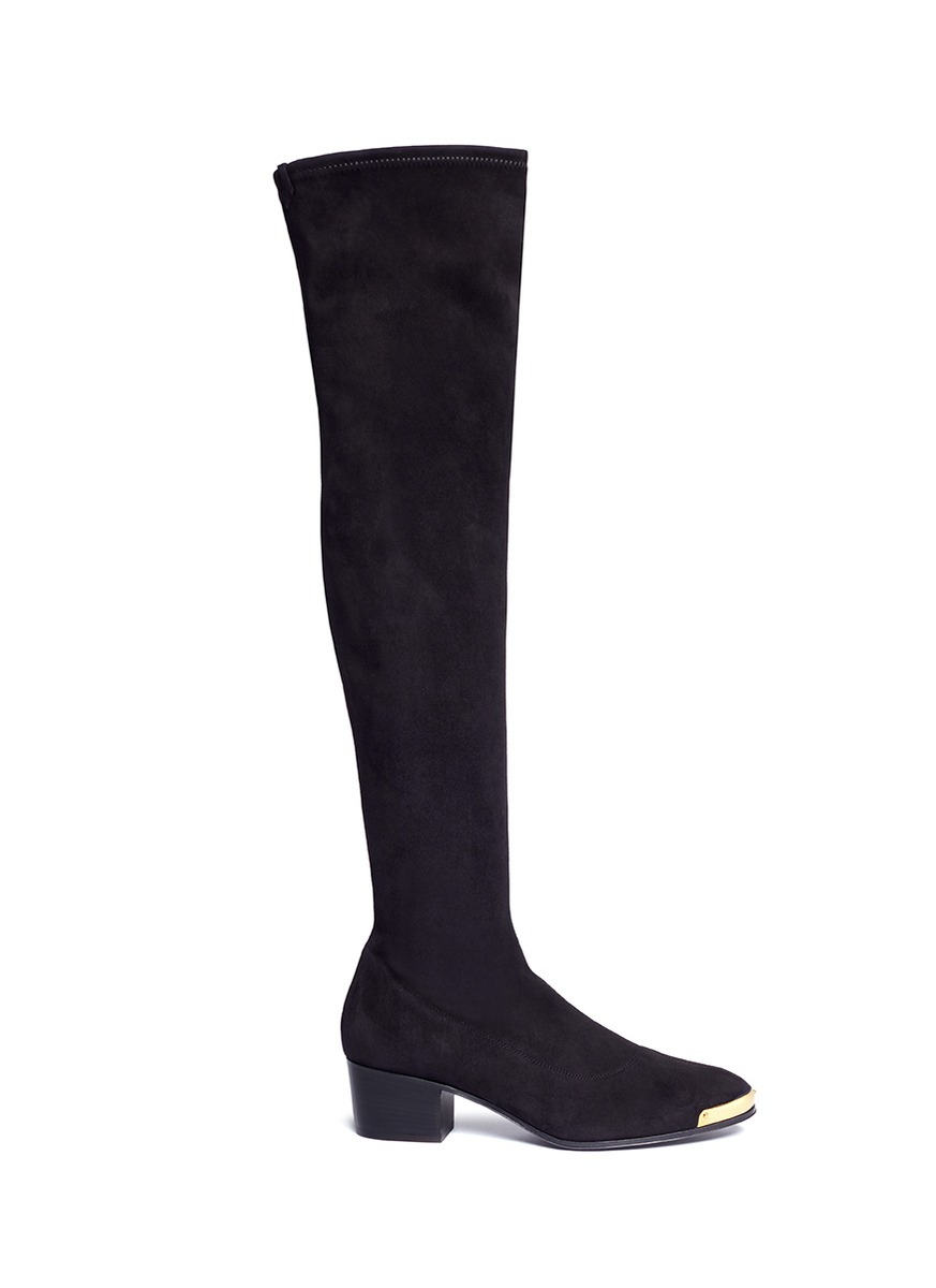 Nicky metal trim suede thigh high boots by Giuseppe Zanotti Design
