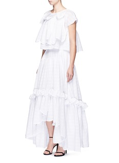 Maticevski'Virtuous' window pattern cotton blend ruffle skirt