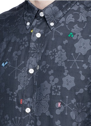 Detail View - Click To Enlarge - KENZO - Slim fit alphabet jacquard cotton shirt