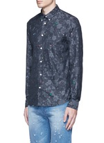 Slim fit alphabet jacquard cotton shirt