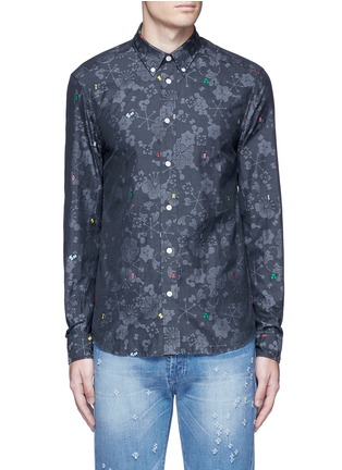 Main View - Click To Enlarge - KENZO - Slim fit alphabet jacquard cotton shirt