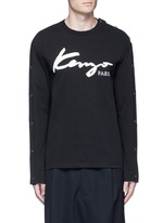 Button sleeve logo print T-shirt