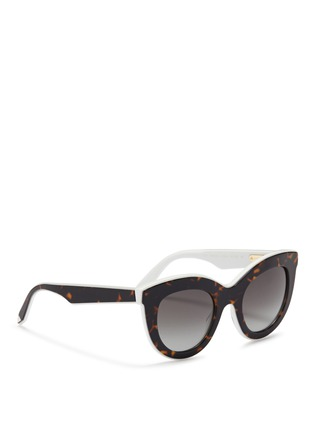 Figure View - Click To Enlarge - Victoria Beckham - 'Layered Cat' inset tortoiseshell acetate sunglasses