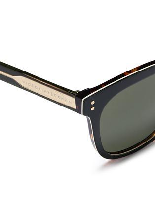 Detail View - Click To Enlarge - Victoria Beckham - 'The VB' colourblock tortoiseshell effect acetate square sunglasses