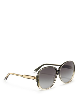 Figure View - Click To Enlarge - Victoria Beckham - 'Large Fine Oval' stripe acetate oversize sunglasses