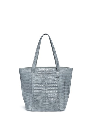 Back View - Click To Enlarge - CELESTINA BAGS - 'Perez Mini' Caiman crocodile leather tote