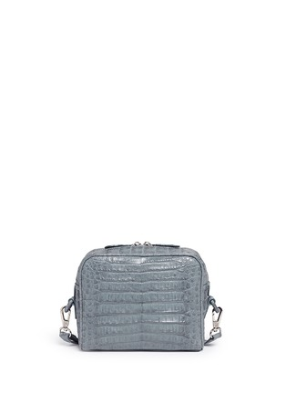 Back View - Click To Enlarge - Celestina  - 'Roxas' small Caiman crocodile leather shoulder bag