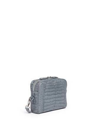 Front View - Click To Enlarge - Celestina  - 'Roxas' small Caiman crocodile leather shoulder bag