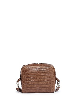 Back View - Click To Enlarge - CELESTINA BAGS - 'Roxas' small Caiman crocodile leather shoulder bag