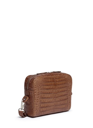 Front View - Click To Enlarge - CELESTINA BAGS - 'Roxas' small Caiman crocodile leather shoulder bag