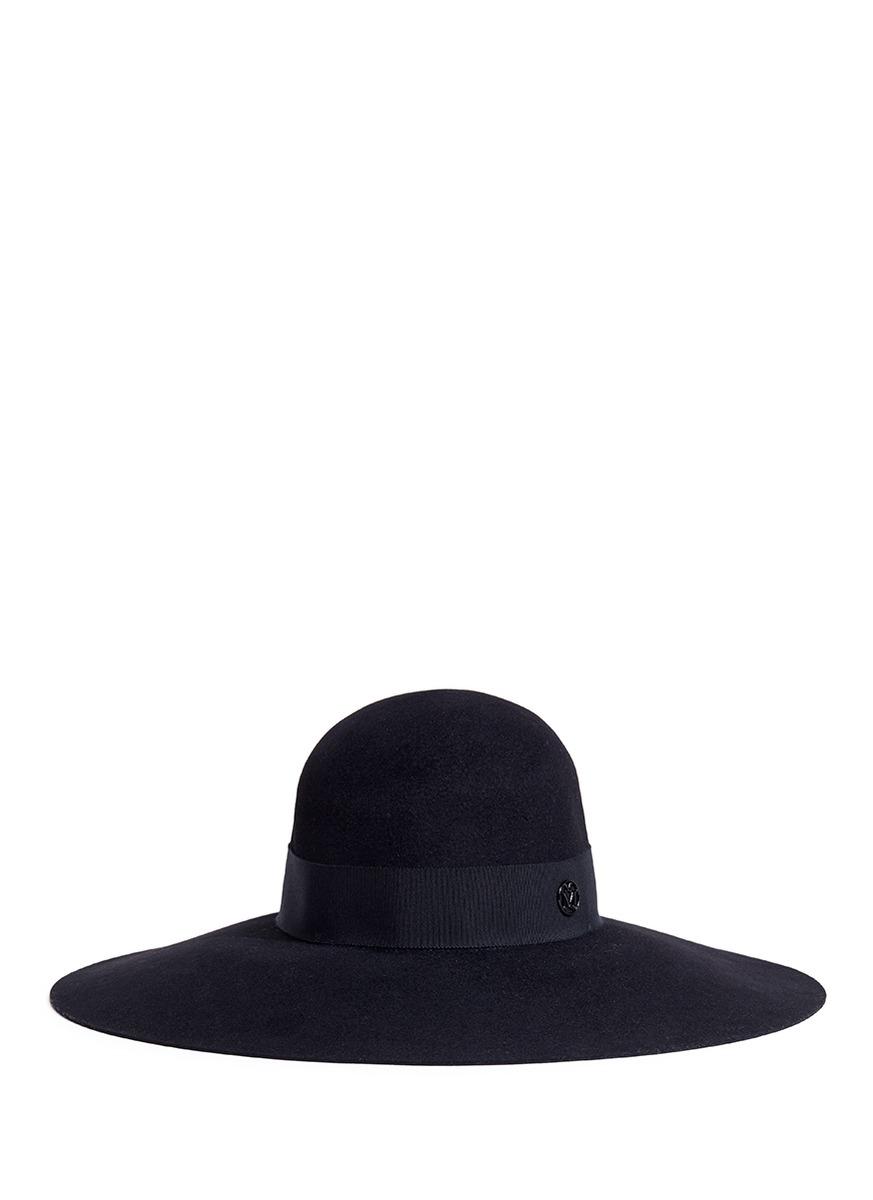 Blanche rabbit furfelt capeline hat by Maison Michel