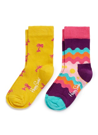 Main View - Click To Enlarge - Happy Socks - Wave and palm tree kids socks 2-pair pack