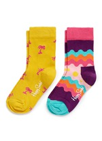 Wave and palm tree kids socks 2-pair pack