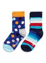 Stripe and polka dot kids socks 2-pair pack