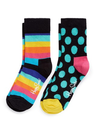 Main View - Click To Enlarge - Happy Socks - Stripe and polka dot kids socks 2-pair pack