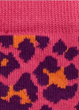 Detail View - Click To Enlarge - Happy Socks - Leopard and mix pattern kids socks 2-pair pack
