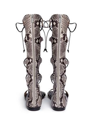 Back View - Click To Enlarge - Michael Kors - 'Sofia' python embossed leather gladiator sandals