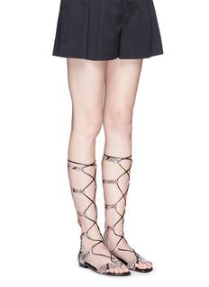 Michael Kors 'Sofia' python embossed leather gladiator sandals