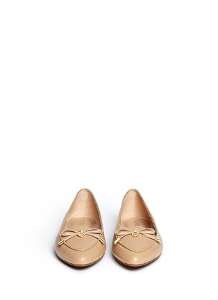 Front View - Click To Enlarge - Michael Kors - 'Nancy' logo ribbon leather flats