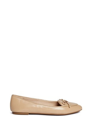 Main View - Click To Enlarge - Michael Kors - 'Nancy' logo ribbon leather flats