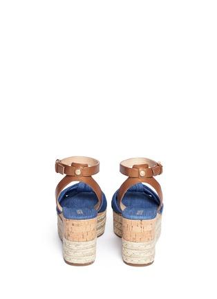 Back View - Click To Enlarge - Michael Kors - 'Maxwell' denim cork wedge espadrille platform sandals