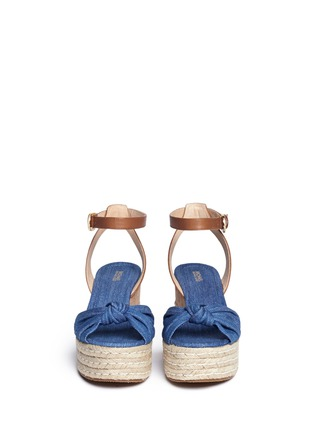 Front View - Click To Enlarge - Michael Kors - 'Maxwell' denim cork wedge espadrille platform sandals