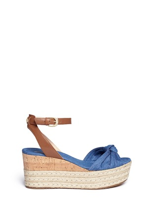 Main View - Click To Enlarge - Michael Kors - 'Maxwell' denim cork wedge espadrille platform sandals