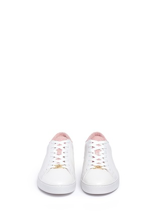 Front View - Click To Enlarge - Michael Kors - 'Irving' shagreen effect trim leather sneakers