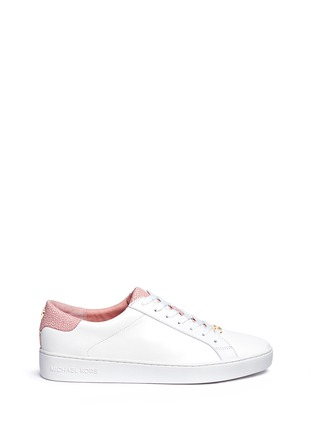 Main View - Click To Enlarge - Michael Kors - 'Irving' shagreen effect trim leather sneakers