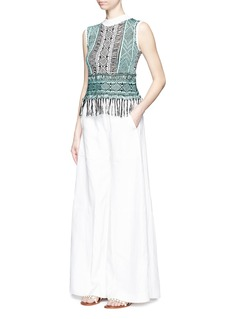 MAMEFringe tribal sleeveless knit top