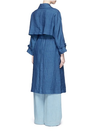 Back View - Click To Enlarge - Mame - Linen chambray trench coat