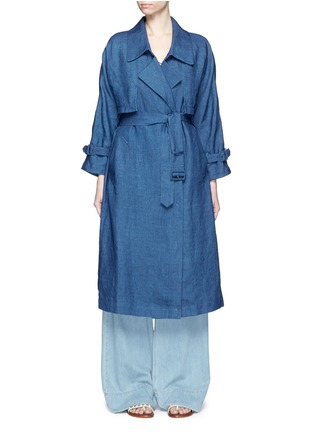 Main View - Click To Enlarge - Mame - Linen chambray trench coat