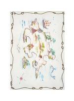 'Rieti' map print modal-linen-silk scarf