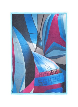 Main View - Click To Enlarge - Franco Ferrari - 'Danao' sail boat print hand painted silk-modal scarf