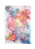 'Astratto' cashmere appliqué floral print silk scarf