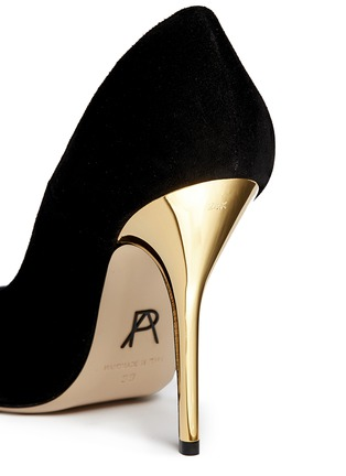 Detail View - Click To Enlarge - Paul Andrew - 'Zenadia' 24k gold dipped heel suede pumps
