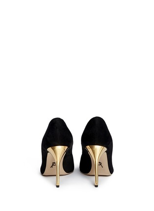 Back View - Click To Enlarge - Paul Andrew - 'Zenadia' 24k gold dipped heel suede pumps