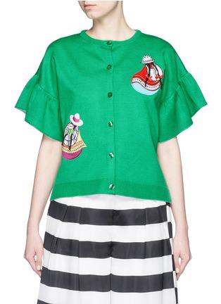 STELLA JEAN-'Tartufaio' embroidered patch ruffle sleeve cardigan