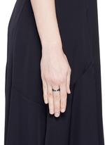 Diamond blue rhodium plated 18k white gold cutout ring
