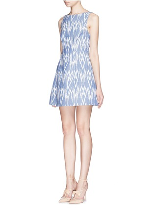 Front View - Click To Enlarge - alice + olivia - 'Epstein' ikat print denim pouf dress