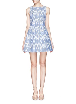 Main View - Click To Enlarge - alice + olivia - 'Epstein' ikat print denim pouf dress