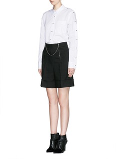 ALEXANDER WANG Ball chain zip cotton-wool shorts