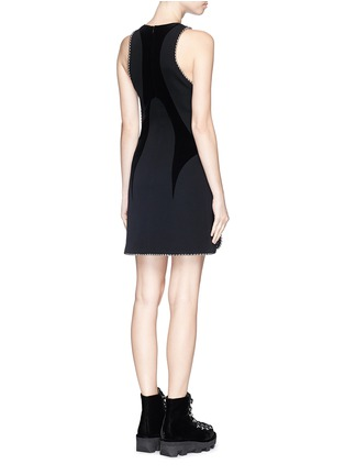 Back View - Click To Enlarge - Alexander Wang  - Ball chain trim wavy velvet panel dress