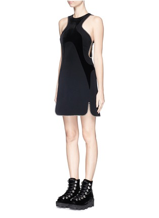 Front View - Click To Enlarge - Alexander Wang  - Ball chain trim wavy velvet panel dress