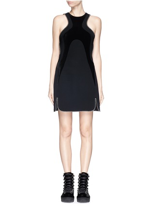 Main View - Click To Enlarge - Alexander Wang  - Ball chain trim wavy velvet panel dress