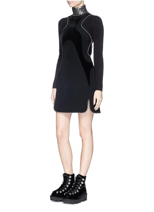 Figure View - Click To Enlarge - Alexander Wang  - Ball chain trim wavy velvet panel dress